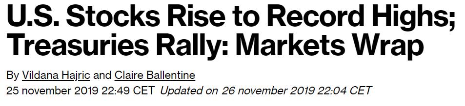 stock market all time high heading november