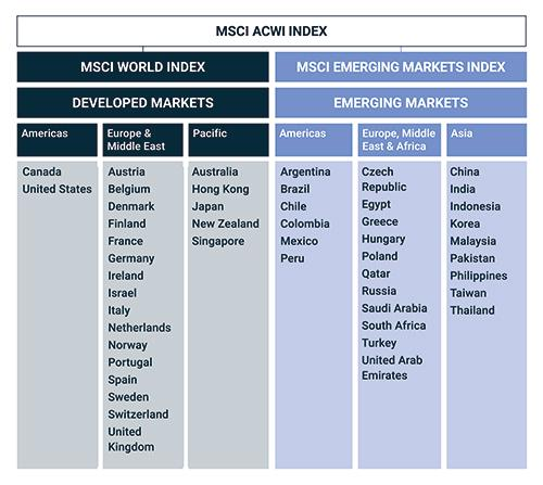 MSCI ACWI Index market allocation