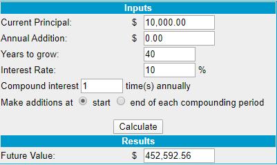 afbeelding van een online calculator waarmee een berekening is uitgevoerd
